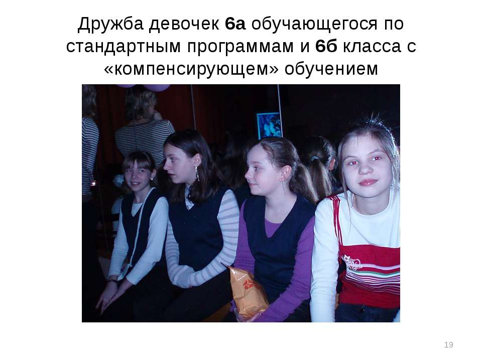 Дружба девочек 6а обучающегося по стандартным программам и 6б класса с «компе...