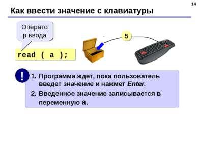 * Как ввести значение с клавиатуры read ( a ); Оператор ввода 5