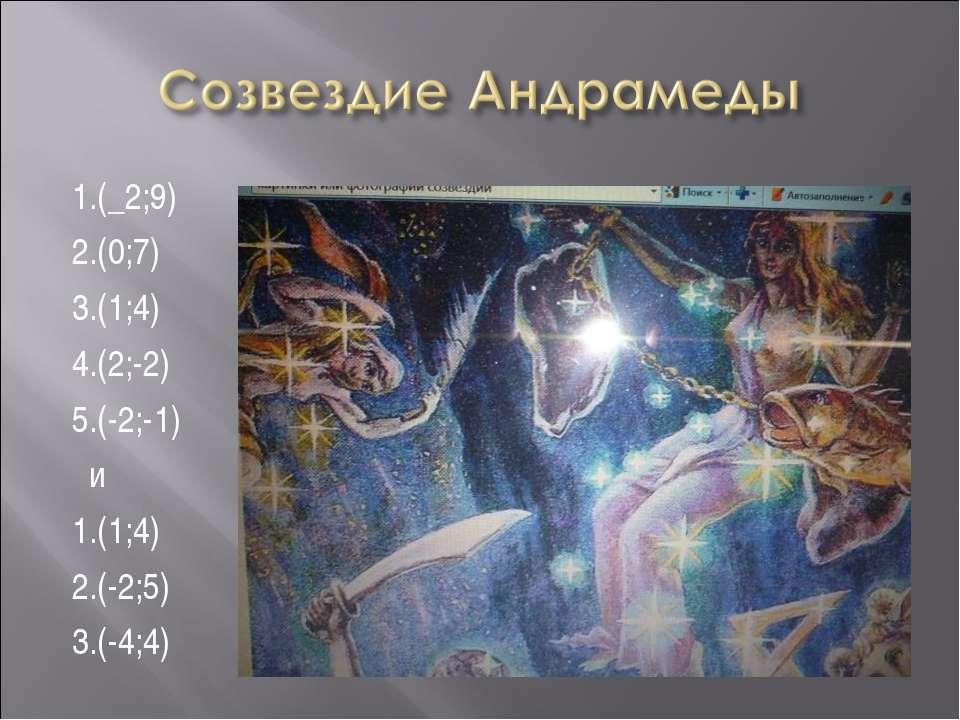 1.(_2;9) 2.(0;7) 3.(1;4) 4.(2;-2) 5.(-2;-1) и 1.(1;4) 2.(-2;5) 3.(-4;4)