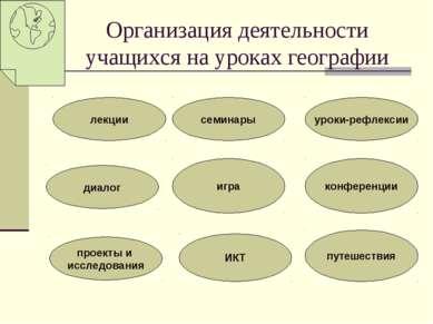 Организация деятельности учащихся на уроках географии лекции диалог проекты и...