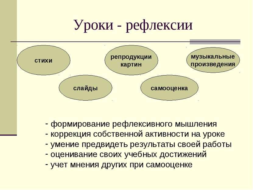 Уроки - рефлексии стихи слайды самооценка репродукции картин музыкальные прои...