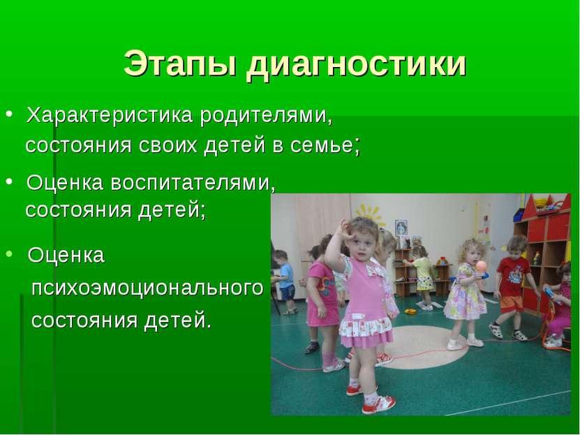 Этапы диагностики Характеристика родителями, состояния своих детей в семье; О...