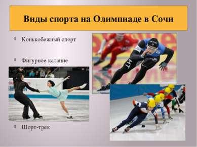 Конькобежный спорт Фигурное катание Шорт-трек Виды спорта на Олимпиаде в Сочи