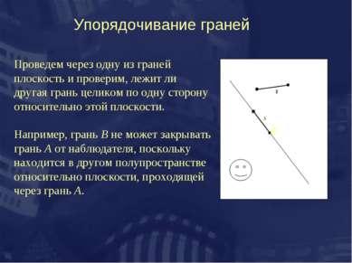 Упорядочивание граней ё Проведем через одну из граней плоскость и проверим, л...