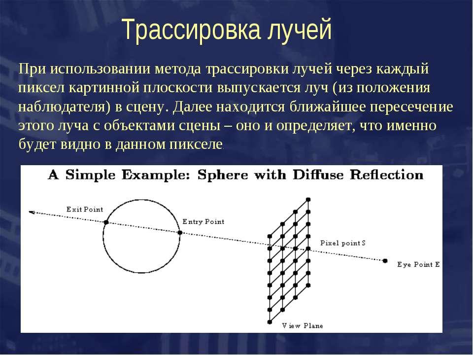 Трассировка лучей При использовании метода трассировки лучей через каждый пик...