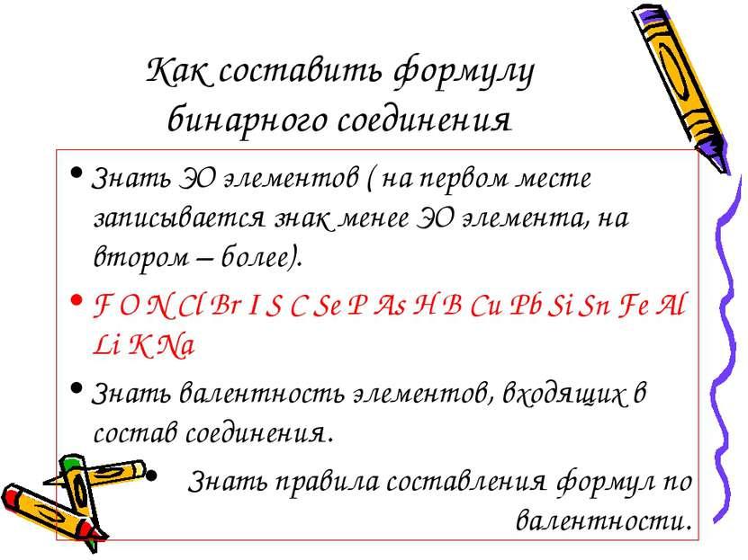 Как составить формулу бинарного соединения Знать ЭО элементов ( на первом мес...