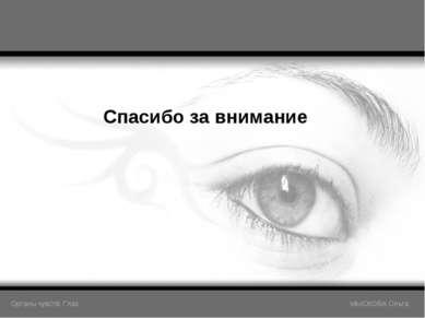 Спасибо за внимание Органы чувств: Глаз МЫСКОВА Ольга