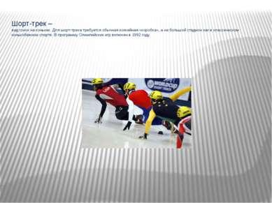 Шорт-трек – вид гонок на коньках. Для шорт-трека требуется обычная хоккейная ...