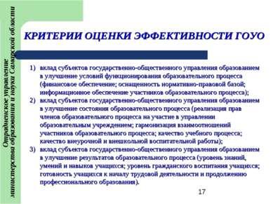 КРИТЕРИИ ОЦЕНКИ ЭФФЕКТИВНОСТИ ГОУО вклад субъектов государственно-общественно...