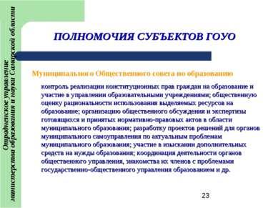 ПОЛНОМОЧИЯ СУБЪЕКТОВ ГОУО Муниципального Общественного совета по образованию ...