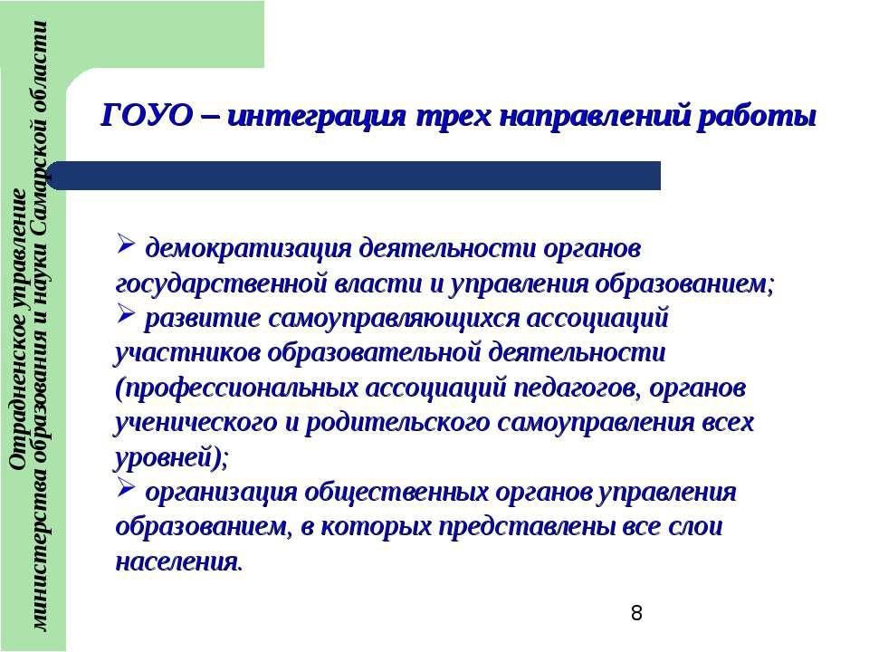 ГОУО – интеграция трех направлений работы демократизация деятельности органов...