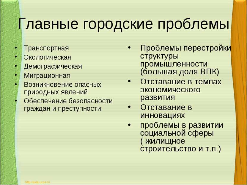 Главные городские проблемы Транспортная Экологическая Демографическая Миграци...