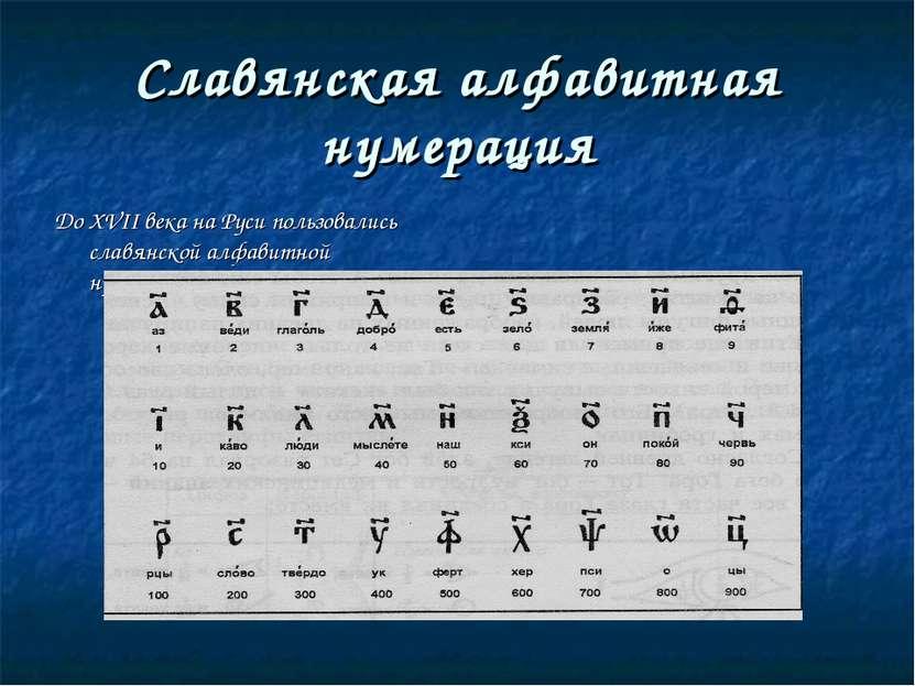 Славянская алфавитная нумерация До XVII века на Руси пользовались славянской ...