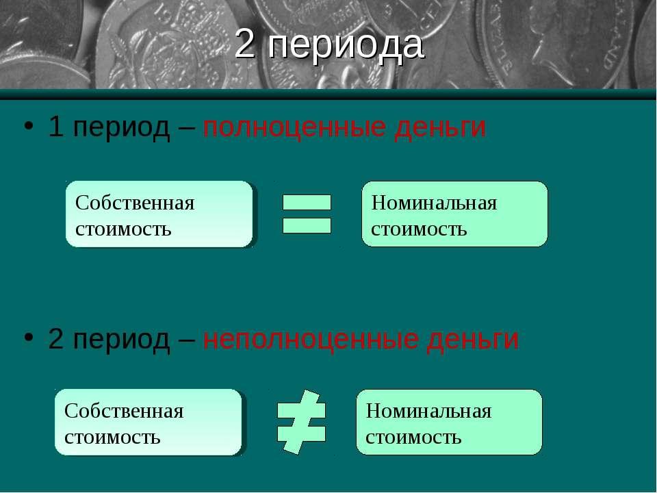 2 периода 1 период – полноценные деньги 2 период – неполноценные деньги Собст...