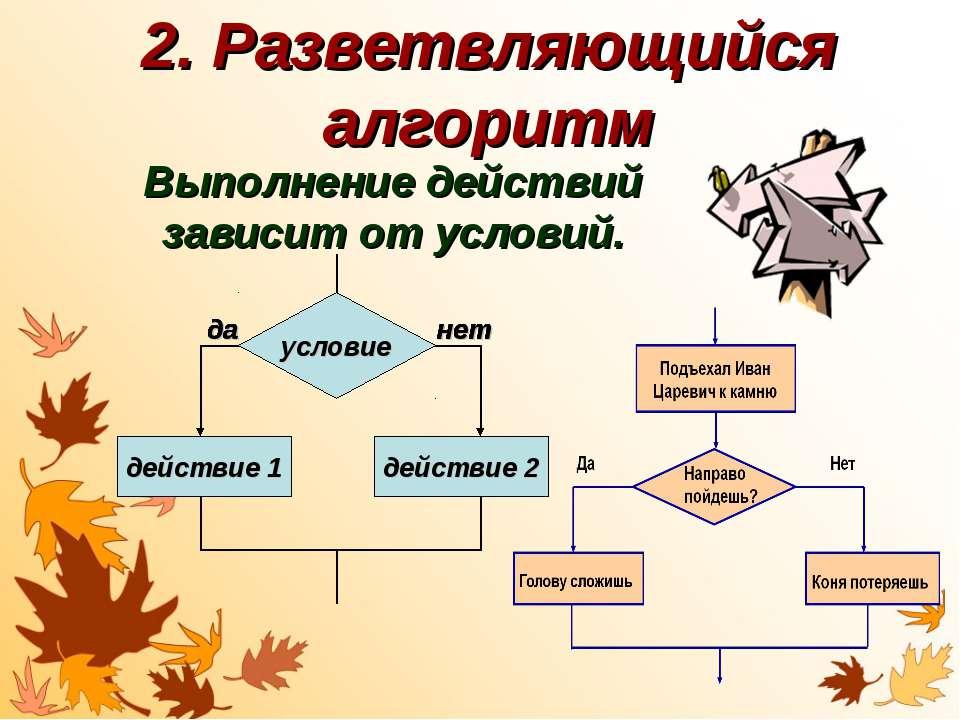 2. Разветвляющийся алгоритм Выполнение действий зависит от условий. действие ...