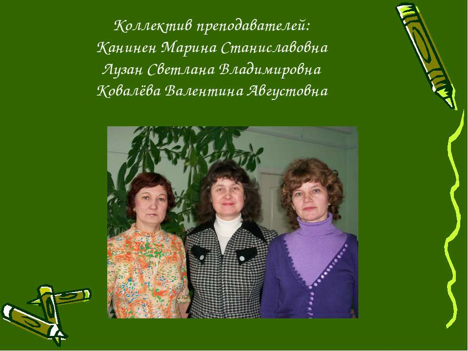 Коллектив преподавателей: Канинен Марина Станиславовна Лузан Светлана Владими...