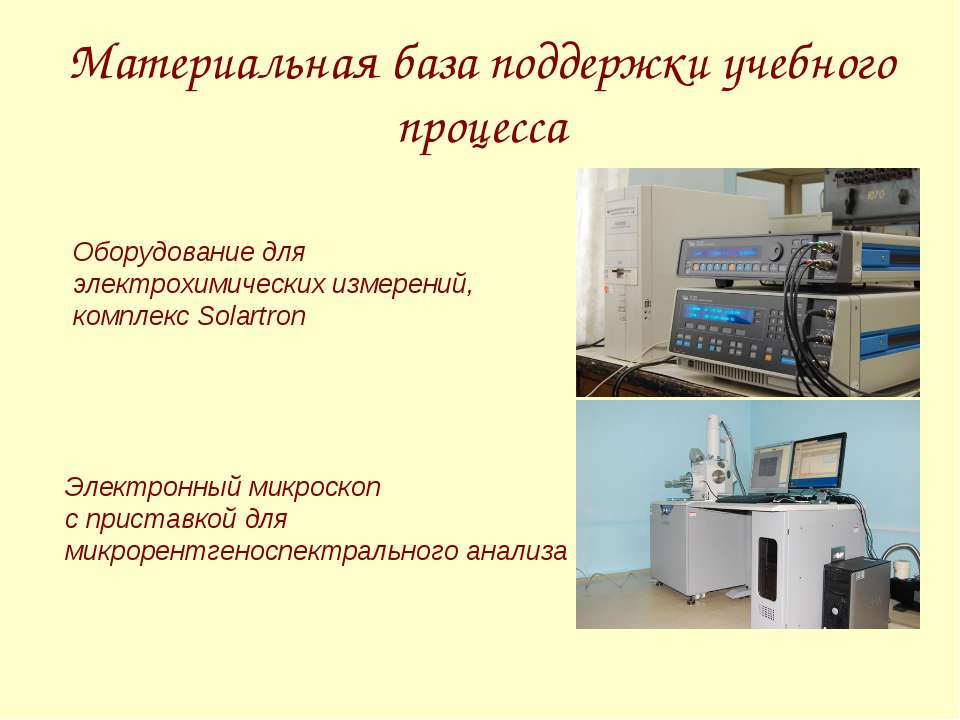 Материальная база поддержки учебного процесса Оборудование для электрохимичес...