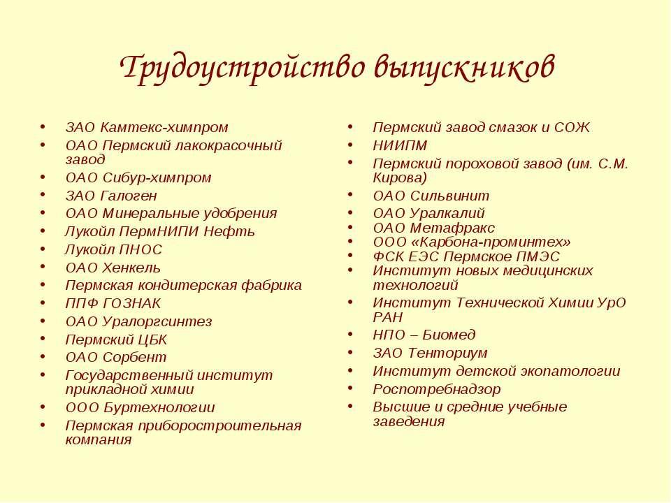 Трудоустройство выпускников ЗАО Камтекс-химпром ОАО Пермский лакокрасочный за...