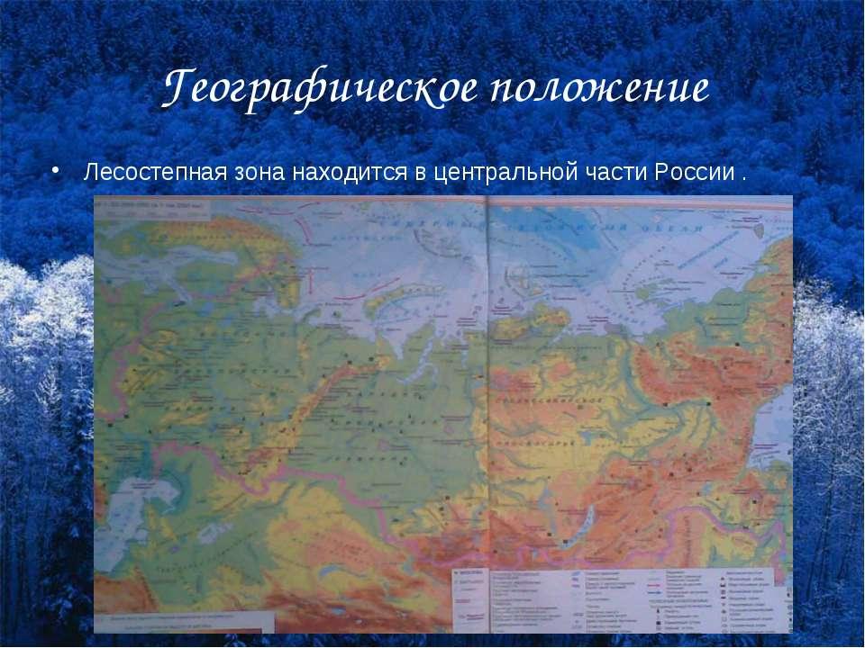 Географическое положение Лесостепная зона находится в центральной части России .