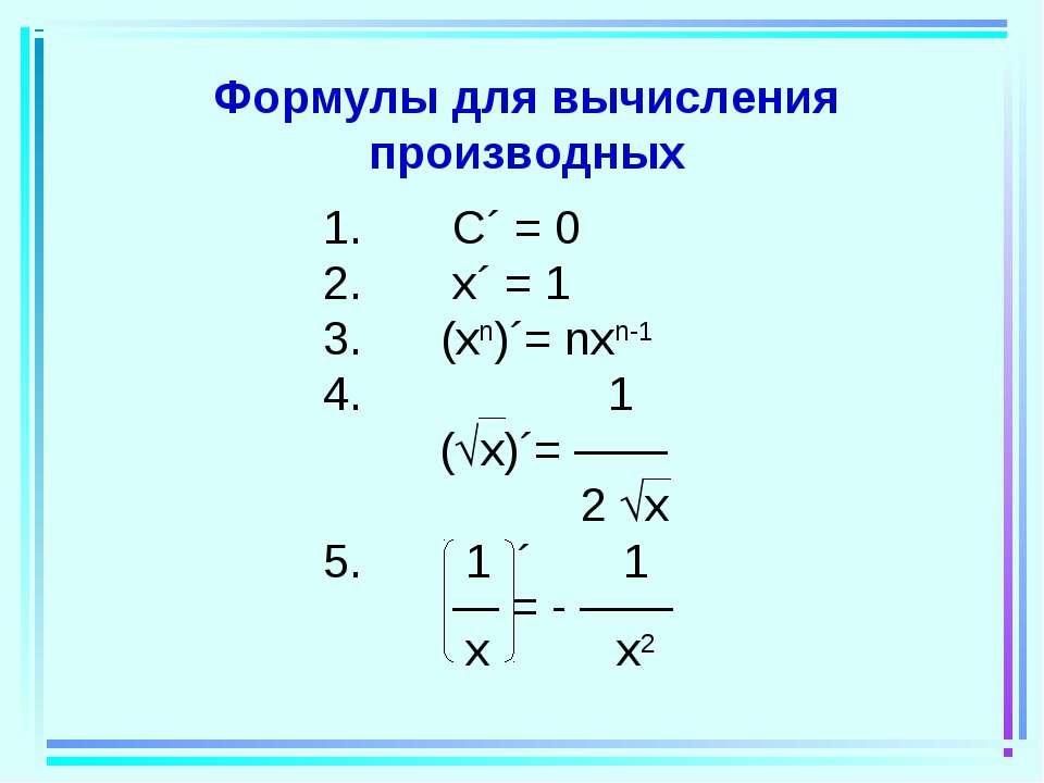 Формулы для вычисления производных