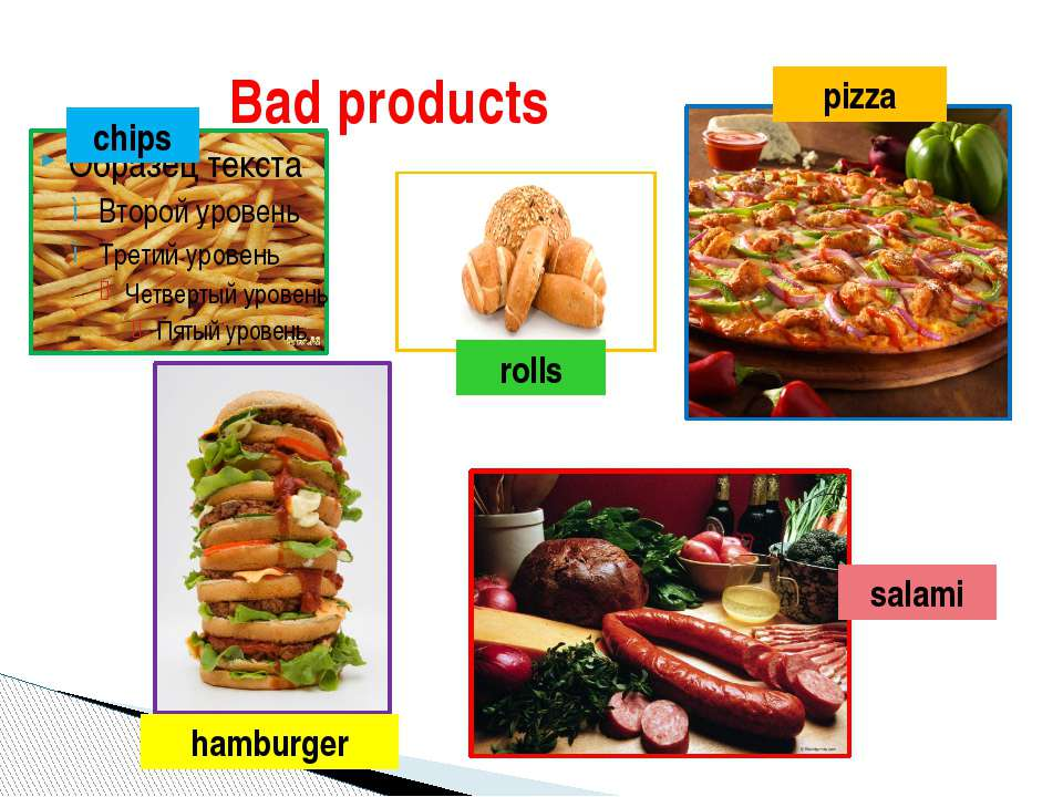 Bad products hamburger pizza salami rolls chips