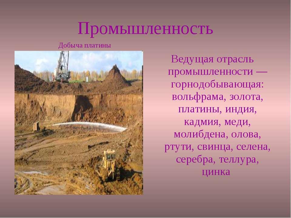 Промышленность Ведущая отрасль промышленности — горнодобывающая: вольфрама, з...