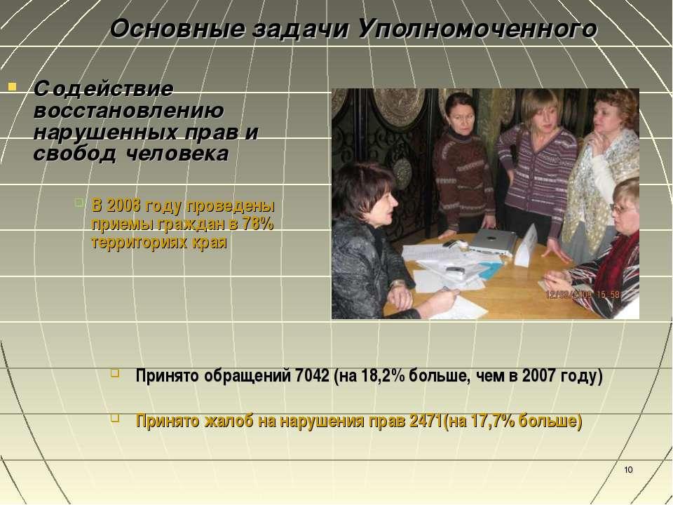 * Содействие восстановлению нарушенных прав и свобод человека В 2008 году про...