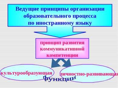 Ведущие принципы организации образовательного процесса по иностранному языку ...