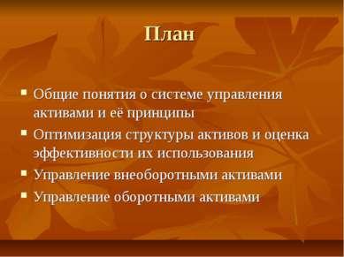 План Общие понятия о системе управления активами и её принципы Оптимизация ст...