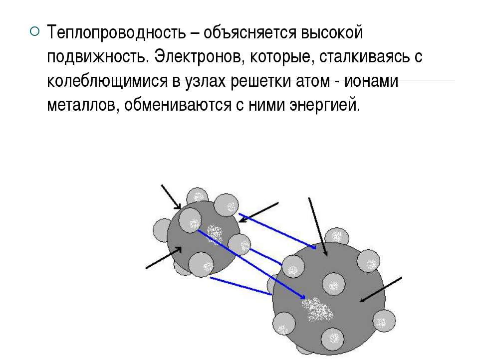 Теплопроводность – объясняется высокой подвижность. Электронов, которые, стал...