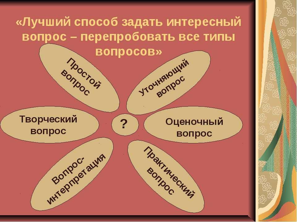 «Лучший способ задать интересный вопрос – перепробовать все типы вопросов» ? ...