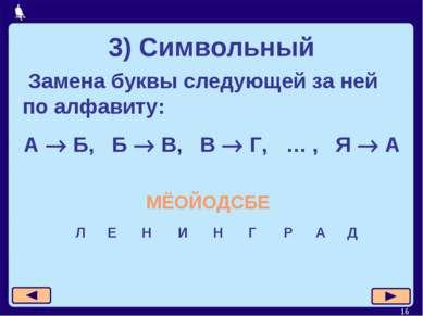 * 3) Символьный Замена буквы следующей за ней по алфавиту: А Б, Б В, В Г, … ,...
