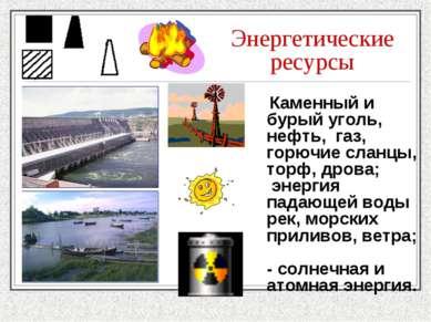 Энергетические ресурсы Каменный и бурый уголь, нефть, газ, горючие сланцы, то...