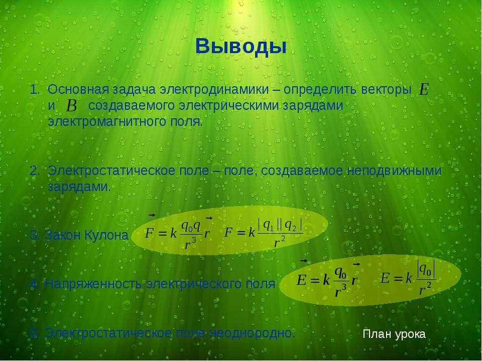 Основная задача электродинамики – определить векторы и создаваемого электриче...
