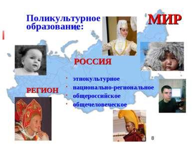 Поликультурное образование: МИР РОССИЯ РЕГИОН этнокультурное национально-реги...