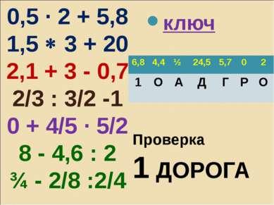 0,5 · 2 + 5,8 1,5 3 + 20 2,1 + 3 - 0,7 2/3 : 3/2 -1 0 + 4/5 · 5/2 8 - 4,6 : 2...