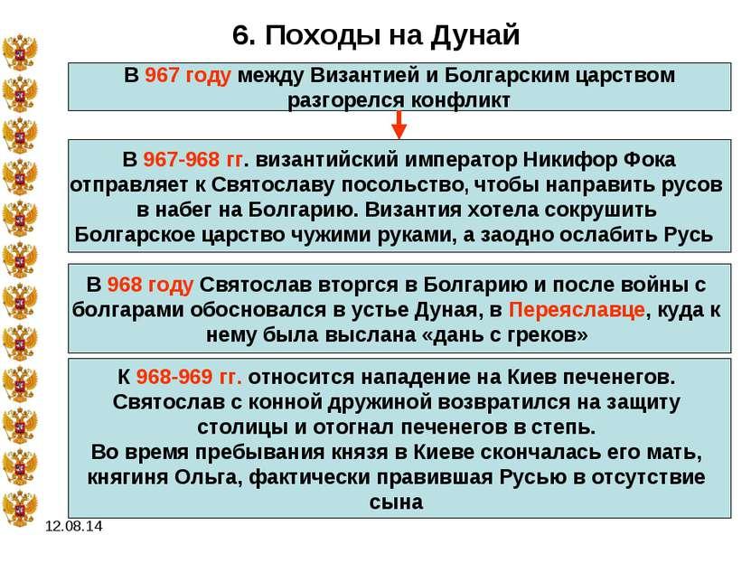 * 6. Походы на Дунай В 967 году между Византией и Болгарским царством разгоре...