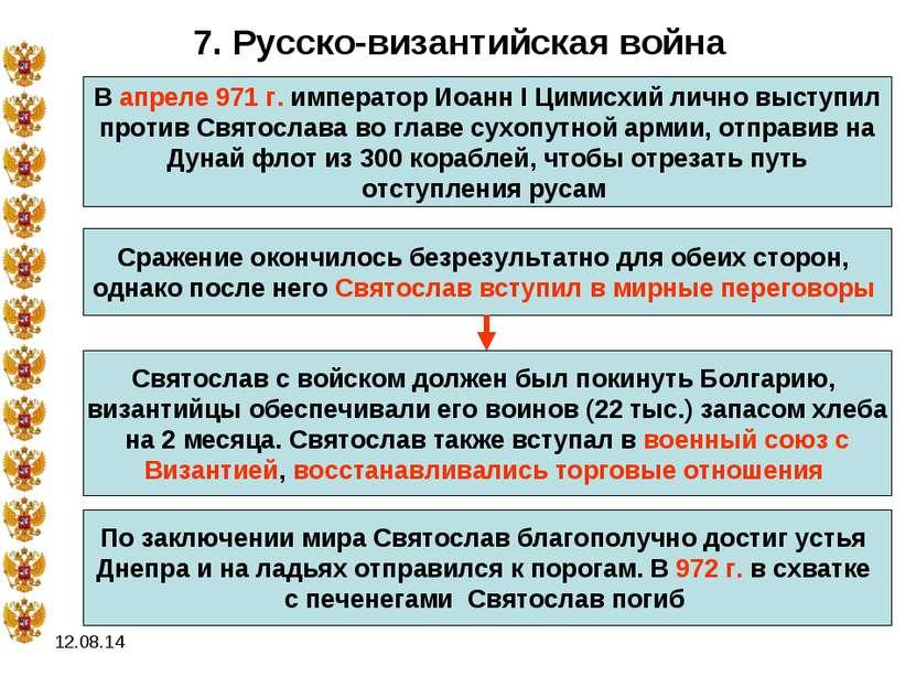 * 7. Русско-византийская война В апреле 971 г. император Иоанн I Цимисхий лич...