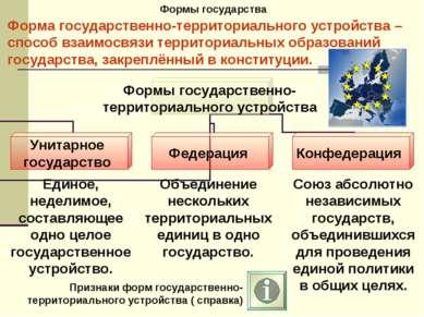Формы государства Форма государственно-территориального устройства – способ в...