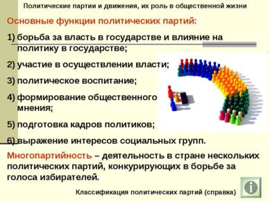 Политические партии и движения, их роль в общественной жизни Основные функции...