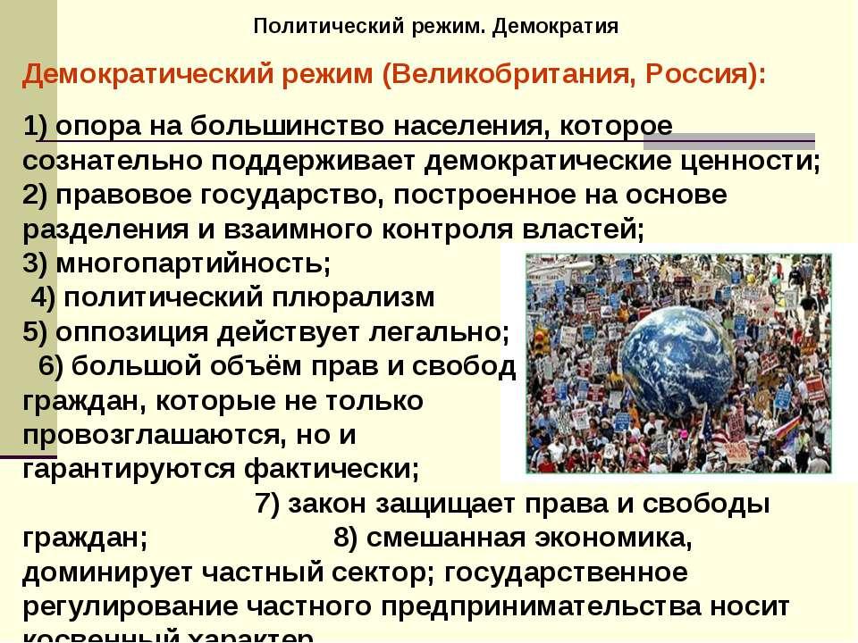 Политический режим. Демократия Демократический режим (Великобритания, Россия)...