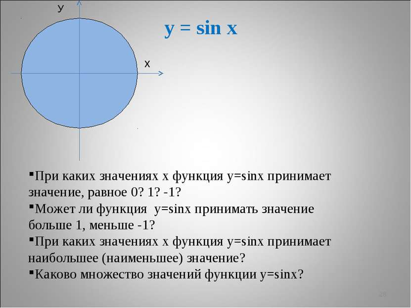 * У х y = sin x При каких значениях х функция у=sinx принимает значение, равн...