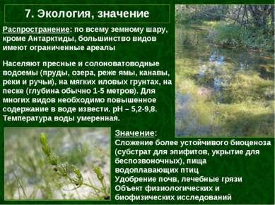 7. Экология, значение Населяют пресные и солоноватоводные водоемы (пруды, озе...