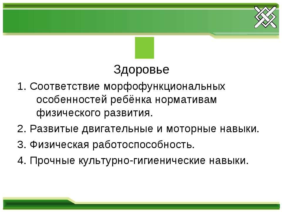 Здоровье 1. Соответствие морфофункциональных особенностей ребёнка нормативам ...