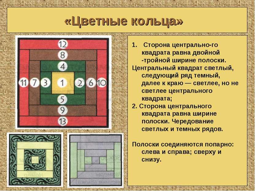 «Цветные кольца» Сторона центрально го квадрата равна двойной -тройной ширине...