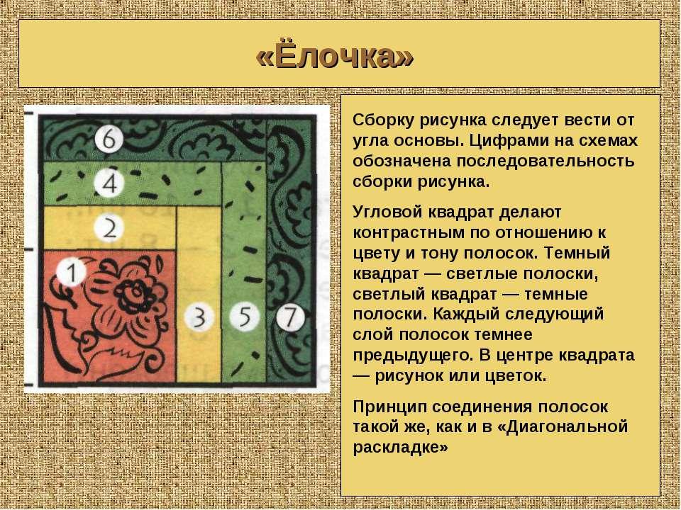 «Ёлочка» Сборку рисунка следует вести от угла основы. Цифрами на схемах обозн...