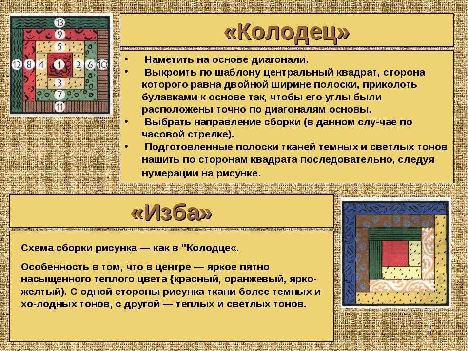 «Колодец» «Изба» Наметить на основе диагонали. Выкроить по шаблону центральны...