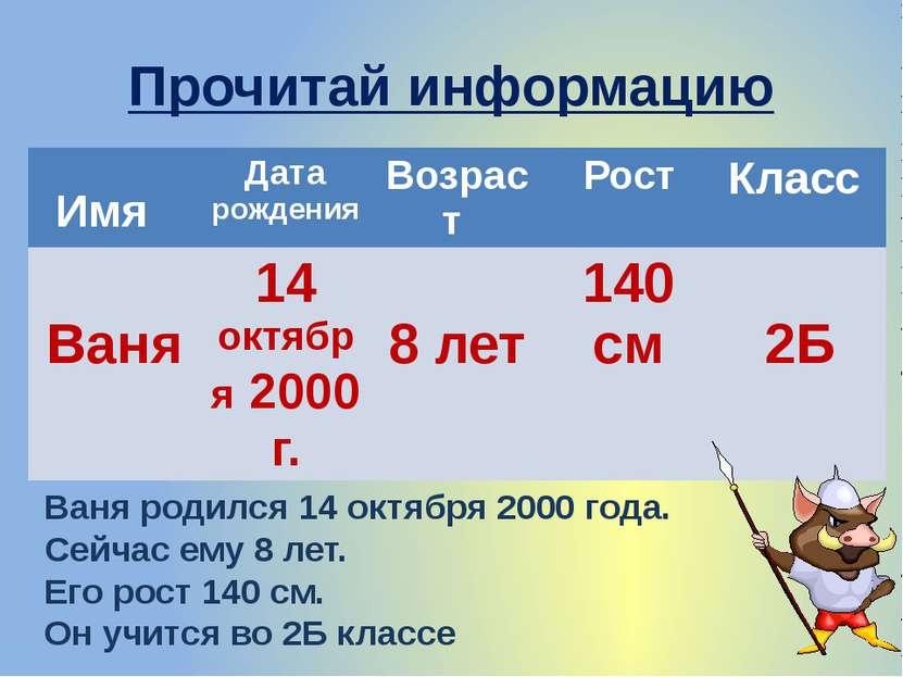 Прочитай информацию Ваня родился 14 октября 2000 года. Сейчас ему 8 лет. Его ...