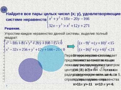 Упростим каждое неравенство данной системы, выделив полный квадрат: Решение. x