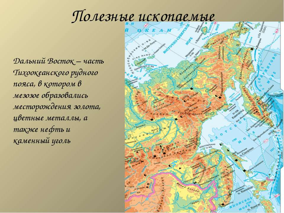 Полезные ископаемые Дальний Восток – часть Тихоокеанского рудного пояса, в ко...